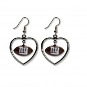 NFL New York Giants Mini Football Heart Dangler Earrings