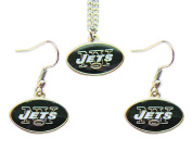 New York Jets Necklace and Dangle Earring Charm Set