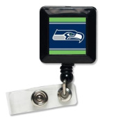 Seattle Seahawks Official NFL 2.5cm x 2.5cm Retractable Badge Holder Key Chain Keychain by Wincraft