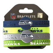 NFL Seattle Seahawks Silicone Rubber Wrist Band Bracelet Charm Gift Set Of 4