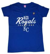 Kansas City Royals LAT Women Blue 2014 ALCS Champions V-Neck T-Shirt