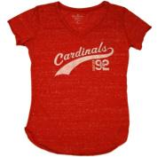 St. Louis Cardinals SAAG Women Red Flecked Lightweight V-Neck T-Shirt