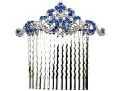 Blue Floral Hair Comb Sapphire colour Bridesmaid Flower Girl Wedding Party