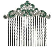 Green Hair Comb Emerald Colour Crystal Bridal Bridesmaid Wedding Party Prom