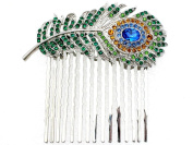 Hair Comb Peacock Feather Gorgeous Multicolors Crystal Bridesmaid Wedding Party