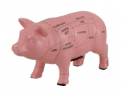 Pink Ceramic Pig Shaped Coin Bank Butcher Chart Piggy Bank 10cm .