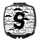 Letter S Moustache Initial Compact Mirror CJ2009-SSCM