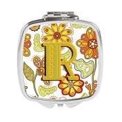 Letter R Floral Mustard and Green Compact Mirror CJ2003-RSCM