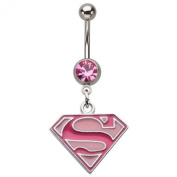 DC Comics Superman Stainless Steel Dangle Belly Ring with Pink Gem 14g