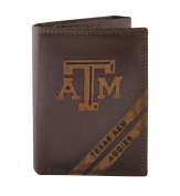 NCAA Texas A & M Aggies Zep-Pro Pull-Up Leather Trifold Embossed Wallet, Brown