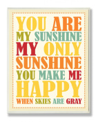 The Kids Room by Stupell You Are My Sunshine Rainbow Colours Typograpgy Rectangle Wall Plaque
