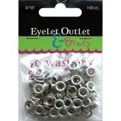 Eyelet Outlet Eyelets and Washers, 0.5cm , 50 Eyelets, 50 Washers