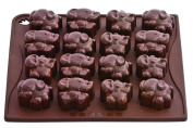 Pavonidea CHOCO12 - Choco Elephant Brown. Silicone mould for Chocolates and Ice cubes. 18 x portions. 100% Platinic Silicone