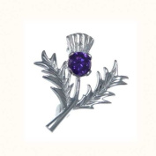 Sterling Silver Amethyst Thistle Brooch