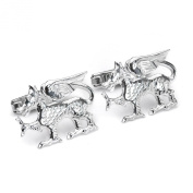 Sterling Silver Dragon Swivel Back Cufflinks