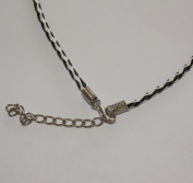 BLACK White Leather TWIST Necklace 46cm with Silver Plated Lobster Clasp Fastening and extension chain.