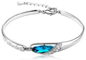 PRESKIN Beautiful silver bracelet with sparkling drops in aquamarine colour and decorative rhinestone crystals | Silver bangle 925