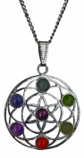 Flower of Life Spiritual Chakra Silver Plated Pendant with Real Gemstones