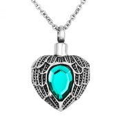 Stainless Steel Cremation Jewellery Heart Keepsake Ashes Pendant Urn Keepsake Necklace with Crystal