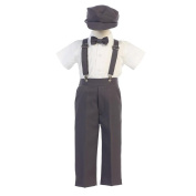Lito Baby Boys Charcoal Suspender Pants Hat Outfit Set 18-24M