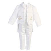 Angels Garment Baby Boys White 5 pcs Gold Embroidered Tuxedo 12-18M