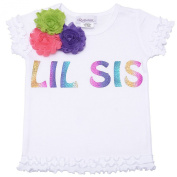"""Reflectionz Baby Girls White """"Lil Sis"""" Floral Ruffled Hem Top 12M"""