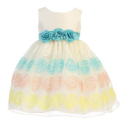 Lito Baby Girls Ivory Poly Silk Flower Embroidered Organza Easter Dress 6-12M