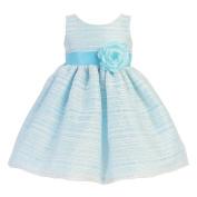 Lito Baby Girls Blue Sleeveless Striped Organza Easter Flower Girl Dress 6-12M