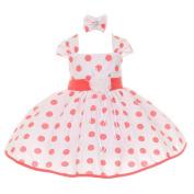 Shanil Inc Baby Girls Coral White Polka Dot Headband Flower Girl Dress 18M