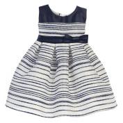 Sweet Kids Baby Girls Navy Stripe Pattern Woven Satin Easter Dress 18M