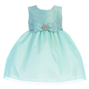 Crayon Kids Baby Girls Turquoise Embroidered Flower Adorned Easter Dress 9M