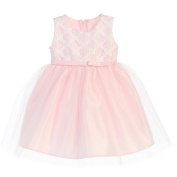Sweet Kids Baby Girls Pink Cross Hatch Satin Tulle Easter Dress 18M