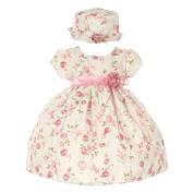 Baby Girls Pink Jacquard Floral Printed Satin Rosette Sash Easter Dress 18M