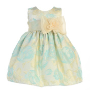 Crayon Kids Baby Girls Turquoise Flocked Flower Adorned Easter Dress 9M