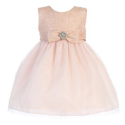 Crayon Kids Baby Girls Pink Embroidered Flower Adorned Easter Dress 24M