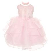 Baby Girls Light Pink Organza Rhinestuds Bow Sash Flower Girl Dress 24M