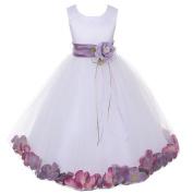 Kids Dream Baby Girls White Satin Lavender Petal Flower Girl Dress 12M