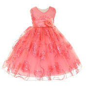 Baby Girls Coral Tulle Embroidery Sequins Flower Girl Easter Dress 6M
