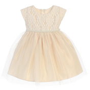 Sweet Kids Baby Girls Champagne Sequin Lace Detailed Tulle Easter Dress 24M