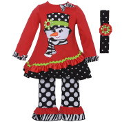 Rare Editions Baby Girls Red Snowman Applique Tunic Headband Legging Set 12M
