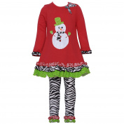 Rare Editions Baby Girls Red Snowman Zebra Print Christmas Legging Set 12M