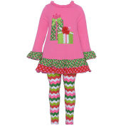 Rare Editions Baby Girls Fuchsia Present Applique Chevron Legging Set 24M