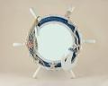 Wooden Round Ships Wheel Mirror Bathroom Decoration - Blue and White 43 cm