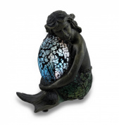 Blue, Green and Bronzed Crackled Glass Relaxing Mermaid Accent Lamp