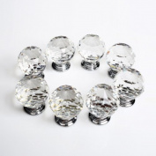 Revesun 10PCS/LOT Diameter 50mm Clear Crystal Glass Door Knobs Cabinet Pulls Cupboard Handles Drawer Knobs Wardrobe Home Hardware