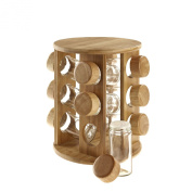 Wooden Rotating Spice Rack Holder + 12 Glass Jars with Bamboo Lids, High Quality Jars Storage Solution Perfect Gift For Wife,Parents,Grandparents,Girlfriend on Birthday or For Christmas. Organise Your Spice Jars With The Beautiful and Cute Revolving Ba ..