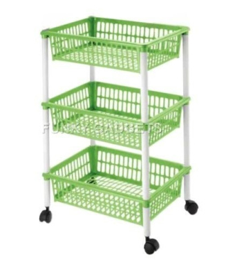 Plastic 3 Tier Vegetables Storage Basket Trolley Stand Kitchen Shelf Fruit  Rack Organiser With Wheels Lime