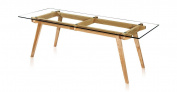 Kardiel Sticotti Mid-Century Modern Dining Table, Ash Wood/Glass Top