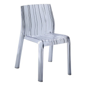 Fine Mod Imports FMI10029-clear Stripe Dining Chair, Clear
