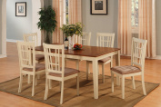 East West Furniture NICO7-WHI-C 7-Piece Dining Table Set, Buttermilk/Cherry Finish